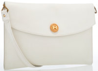 Hermes White Evergrain Leather Rio Clutch Bag with Gold Hardware & Shoulder Strap Very Good Condition 9.5""
