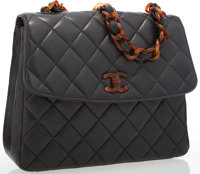 Chanel Navy Quilted Lambskin Leather Shoulder Bag with Tortoise Shell Hardware Good to Very Good Condition