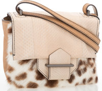 """Reed Krakoff Beige Leather with Spotted Pony Hair Mini Crossbody Bag Good Condition 8"""" Width x 6"""
