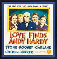 "Love Finds Andy Hardy (MGM, 1938). Framed Trimmed Jumbo Window Card (Window Card Measurements: 22"" X 22.5""; Fr..."
