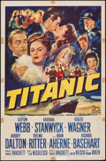 "Movie Posters:Drama, Titanic (20th Century Fox, 1953). One Sheet (27"" X 41""). Drama.. ..."