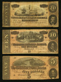 Confederate Notes:Group Lots, Trio of 1864 Treasury Notes T-69, T-68, T-67.. ... (Total: 3 notes)