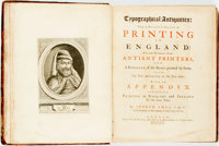 [Featured Lot]. [Books about Books]. [Early Printing]. Joseph Ames. Typographical Antiquities: Being an Histori