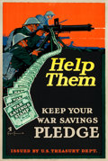 "Movie Posters:War, World War I Propaganda (U.S. Treasury Department, 1917). Poster(20"" X 30"") ""Help Them."". ..."
