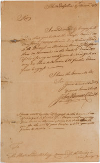 [Revolutionary War]. John Hancock Autograph Letter Twice Signed