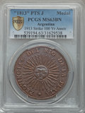 Argentina, Argentina: Republic AE Medal 1913 PTS-J MS63 Brown PCGS,...
