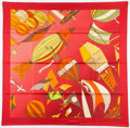 "Luxury Accessories:Accessories, 90cm Hermes Red & Green ""Les Folies du Ciel,"" by Loïc DubigeonSilk Scarf. 36"" Width x 36"" Length. Very Good toExcell..."