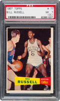 Basketball Cards:Singles (Pre-1970), 1957 Topps Bill Russell #77 PSA NM 7 (OC)....