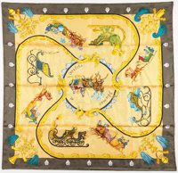 """Hermes 90cm Gold & Green """"Plumes et Grelots"""" by Julie Abadie Silk Scarf Excellent Condition 36"""""""