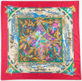 "Luxury Accessories:Accessories, 90cm Hermes Pink & Blue ""Tropiques,"" by Laurence Bourthoumieux Silk Scarf. Very Good to Excellent Condition. 36"" Width..."