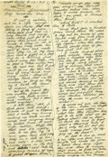 "Autographs:Artists, Woody Guthrie: Lengthy Autograph Manuscript Signed ""WoodyGuthrie"". Two pages, four columns, 7.25"" x 10.5"", ScottField,... (Total: 1 Item)"