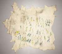 A SHOSHONE PICTORIAL PAINTED ELK HIDE ROBE ATTRIBUTED TO CADZI CODY (1866 – 1912)  c. 1890