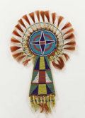 American Indian Art:Beadwork, A CROW BEADED HIDE FOREHEAD ORNAMENT . c. 1890...