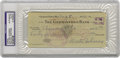 Autographs:Checks, 1942 Walter Johnson Signed Check. Though no radar existed duringJohnson's pitching days, it is likely that his fastball cl...