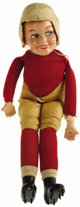 Football Collectibles:Others, 1928 Red Grange Sterling Doll Company Doll. Call it cute or call it creepy, this miniaturized version of the great Gallopin...