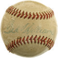 Autographs:Baseballs, Ted Williams Single Signed Mini Baseball. The Splendid Splinterputs his Hall of Fame autograph on the sweet spot of the min...