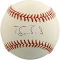 Autographs:Baseballs, Barry Bonds Single Signed Baseball. The game's newly crowned HomeRun King has penned this top-notch exemplar of his signat...