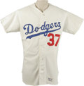 Baseball Collectibles:Uniforms, 1972 Mike Strahler Game Worn Jersey. From his 1972 season with the Los Angeles Dodgers we present this exceptional white ho...