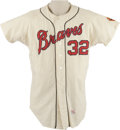 Baseball Collectibles:Uniforms, Circa 1960s Milwaukee/Atlanta Braves Game worn Jersey. Beautiful game-worn #32 flannel from that the Braves wore during the...