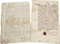 """Colonial New York Document Signed in Dutch Regarding the Bronx. One page, 8"""" x 12"""", one leaf of bifolia, Fort..."""