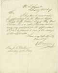 """Autographs:Military Figures, Confederate Navy Secretary Stephen Mallory Pre-War Autograph Letter Signed, """"S. Mallory, one page, 7.75"""" x 9.5"""", Washing... (Total: 1 Item)"""