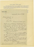 "Autographs:Military Figures, Confederate Major General Thomas L. Rosser Autograph Letter Signed,""Thos Rosser,"" one page on personal letterhead, 8"" x...(Total: 1 Item)"