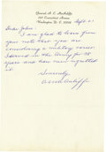 """Autographs:Military Figures, Anthony McAuliffe Autograph Letter Signed """"A C McAuliffe"""".One page, 7.5"""" x 10.5"""", September 21 [ca. 1966], Washington, ...(Total: 1 Item)"""