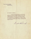 "Autographs:U.S. Presidents, Franklin D. Roosevelt Typed Letter Signed to The Boy Scouts of America ""Franklin D Roosevelt"". One page, 7"" x 8.75"", Was... (Total: 1 Item)"