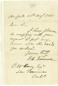 "Autographs:Statesmen, Major General John C. Fremont Autograph Letter Signed, ""J. C.Fremont,"" one page, 5"" x 8"", New York City, August 30, 188..."