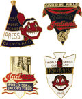 "Baseball Collectibles:Others, 1948-97 World Series Press Pins (Cleveland Indians) Lot of 4. Anyserious Indians fan will shout ""Wahoo!"" when he sees this..."