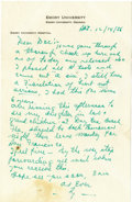 Autographs:Letters, 1956 Ty Cobb Handwritten Signed Letter & Mailing Envelope. The failing health that would take the Peach's life in six years...