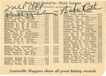 Autographs:Others, Circa 1943 Babe Ruth & Mel Ott Signed Statistics Sheet. Thefirst and third men to gain entry to the 500 Home Run clubhouse...