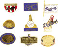 Baseball Collectibles:Others, 1959-1988 World Series Press Pins (Los Angeles Dodgers) Lot of 9. Every World Series appearance since the Bums headed west....