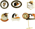 Baseball Collectibles:Others, 1966-83 World Series Press Pins (Baltimore Orioles) Lot of 6. Fromthe days of the Robinsons to the beginning of the Ripken...