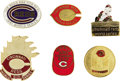 Baseball Collectibles:Others, 1961-90 World Series Press Pins (Cincinnati Reds) Lot of 6. Threedecades of Championship level excitement from the Big Red...