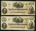 Confederate Notes:1862 Issues, T41 $100 1862 PF-2 Cr. 311 Two Examples.. ... (Total: 2 notes)
