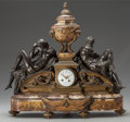 Decorative Arts, American, A GILT AND PATINATED BRONZE, AND MARBLE MANTLE CLOCK FOR TIFFANY& CO., New York, New York, circa 1900. Marks to clock face:...(Total: 2 Items)