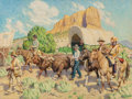 Paintings, TIM SOLLIDAY (American, b. 1952). Western Wagon Train. Oil on canvas. 30 x 40 inches (76.2 x 101.6 cm). Signed lower rig...