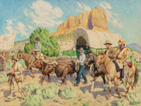 TIM SOLLIDAY (American, b. 1952) Western Wagon Train Oil on canvas 30 x 40 inches (76.2 x 101.6 c