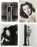 Movie/TV Memorabilia:Photos, Loretta Young, Lana Turner, Hedy Lamarr, and Jane Russell SignedPhotographs....