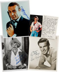 Movie/TV Memorabilia:Photos, Sean Connery, Robert Wagner, Tom Selleck, and Tony Dow PhotographsSigned.... (Total: 4 )