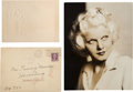 Movie/TV Memorabilia:Autographs and Signed Items, Jean Harlow Publicity Still and Embossed Card.... (Total: 3 )