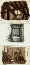 Books:Original Art, [Original Art]. M. Biddle. SIGNED. Three Original Pen and Ink Drawings for an Article on William Penn. Published in the Apri...