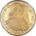 Colombia, Colombia: Charles IV gold 8 Escudos 1806 P-JF MS63 NGC,...