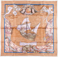 "Luxury Accessories:Accessories, Hermes 90cm Pink & Mauve ""Christophe Colomb d'Ecouvrel'Amerique,"" by Carl de Parcevaux Silk Scarf. 36"" Width x 36""Length..."