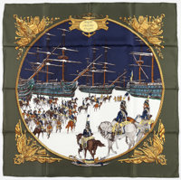 "90cm Hermes Blue, Green, & Gold ""Marine et Cavalerie,"" by Phillipe Ledoux Silk Scarf Excellent to Pristine..."