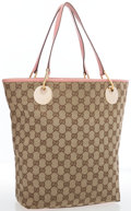 "Luxury Accessories:Accessories, Gucci Beige Monogrammed Canvas with Pink Leather Handles Tote Bag. Good Condition. 14"" Width x 12"" Height x 2"" Depth,..."