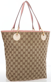 "Gucci Beige Monogrammed Canvas with Pink Leather Handles Tote Bag Good Condition 14"" Width x 12"""