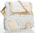 "Luxury Accessories:Accessories, Dolce & Gabbana White Lace Shoulder Bag with Gold Hardware. Good to Very Good Condition. 7"" Height x 7.5"" Width x 1"" D..."