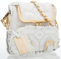 "Dolce & Gabbana White Lace Shoulder Bag with Gold Hardware Good to Very Good Condition 7"" Height"